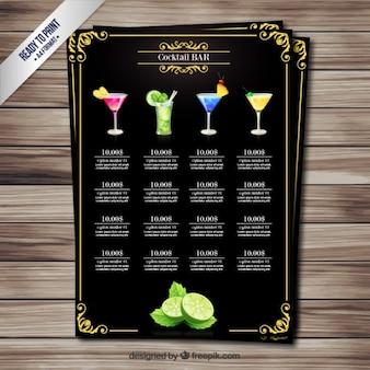 Retro cocktails menu