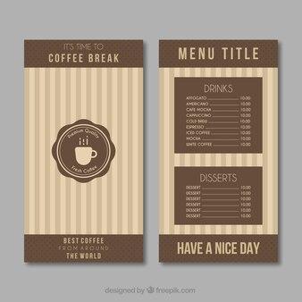 Retro coffee menu
