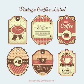Retro coffee stickers