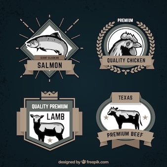 Retro collection of animal badges