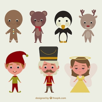 Retro collection of christmas tale characters