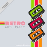 Retro colored stripes background with tapes