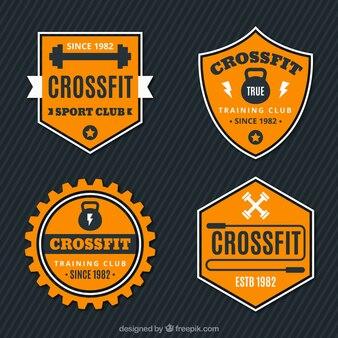 Retro crossfit stickers set