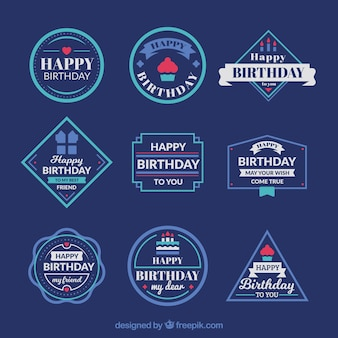 Retro decorative birthday sticker collection