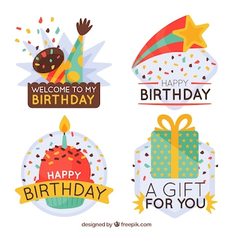 Retro decorative birthday stickers pack