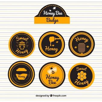 Retro decorative labels of honey