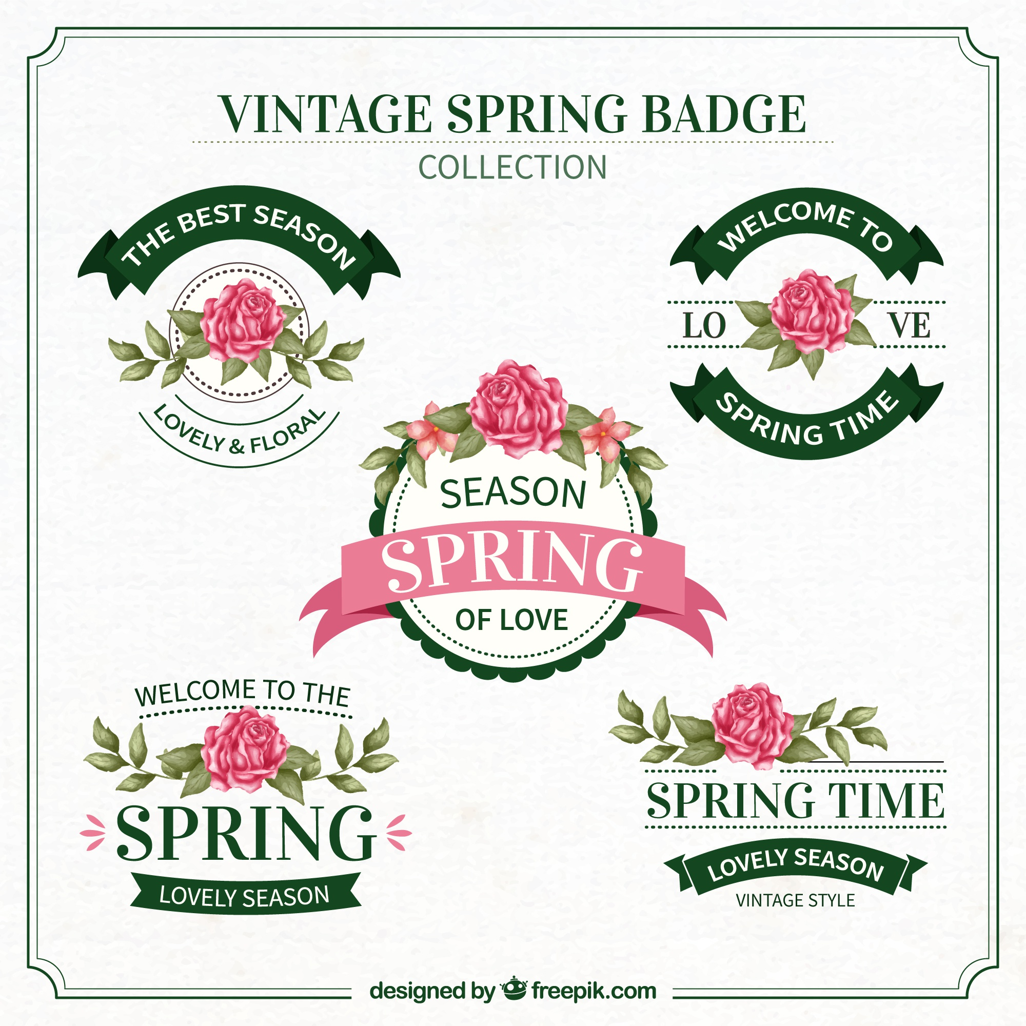 Retro decorative spring insignia pack