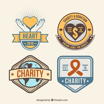 Retro donation labels in flat design