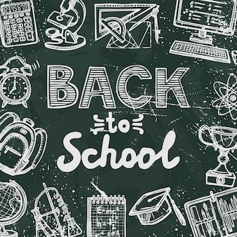 Retro education icons on blackboard background with back to school text poster vector illustration