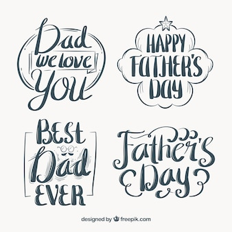 Retro father's day stickers with typography