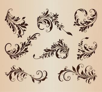 Retro floral shapes vector set