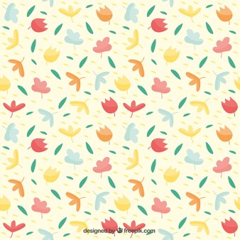 Retro Flower and Leaves Pattern