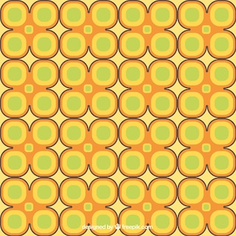 Retro flowers pattern in yellow and green