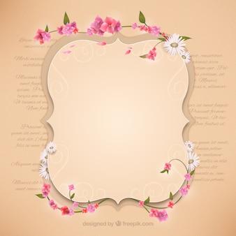 Retro frame with flowers
