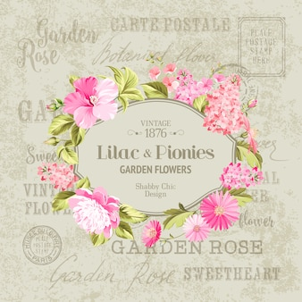 Retro frame with pink flowers