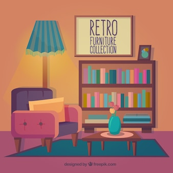 Retro furniture collection in colored style