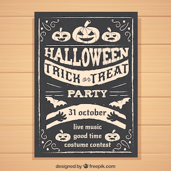 Retro halloween party poster