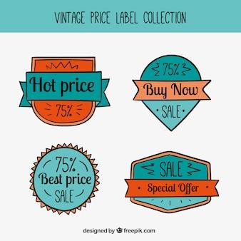 retro hand-drawn price stickers