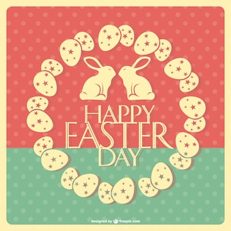 Retro Happy Easter card with eggs in a circle and two rabbits kissing