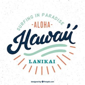 Retro hawaiian badge of surf