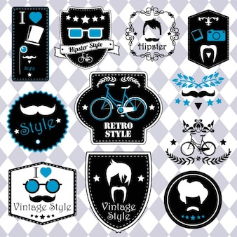 Retro hipster labels