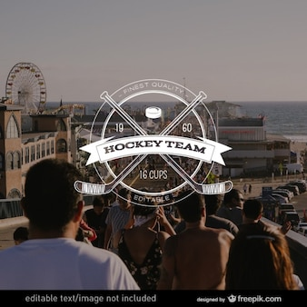 Retro hockey team badge