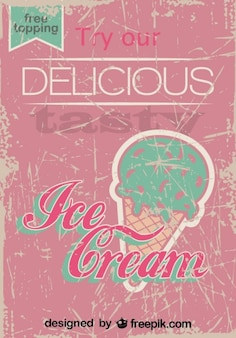 Retro Ice Cream Poster Design Free Topping