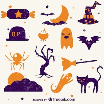 Retro icons collection of halloween
