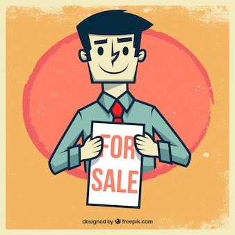 Retro illustration of a salesman