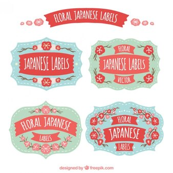 Retro japanese labels with hand drawn flowers