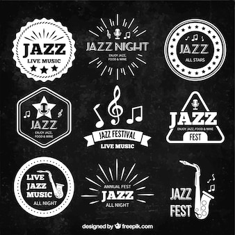 Retro jazz music badges