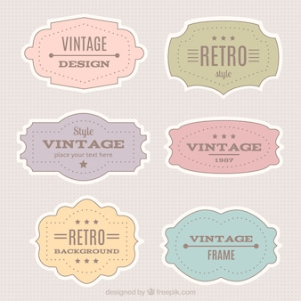 Retro labels collection in pastel colors