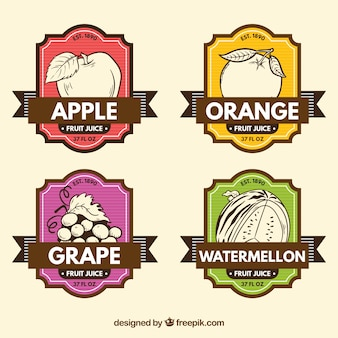 Retro labels with hand drawn fruits