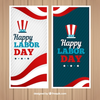 Retro labor day banners with american hat