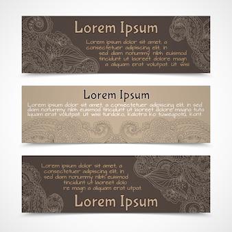 Retro lacework ornamental banners horizontal set  isolated vector illustration