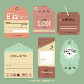 Retro luggage tags in flat design