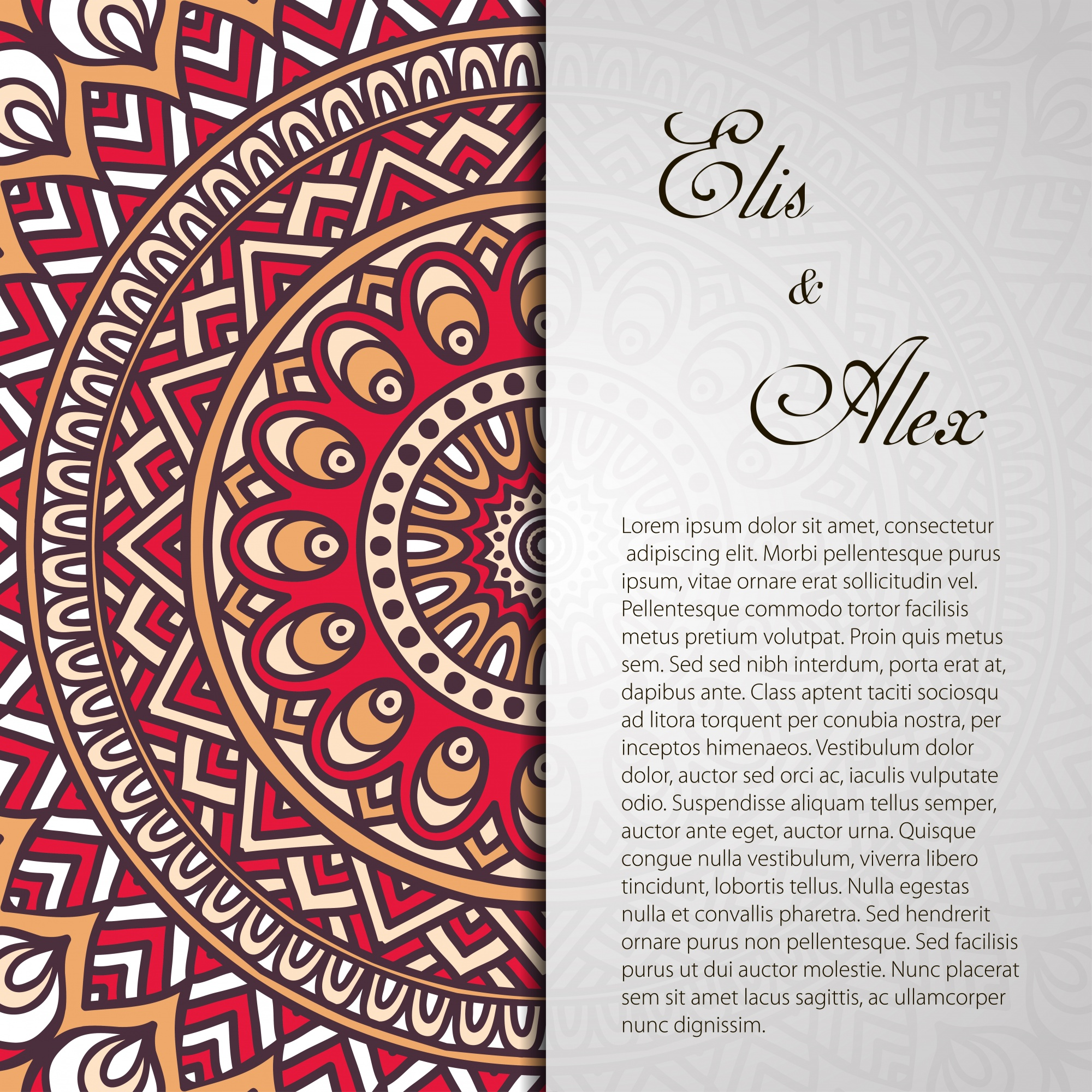 Retro mandala wedding invitation with space for text