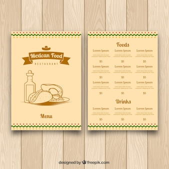 Retro menu template for mexican food