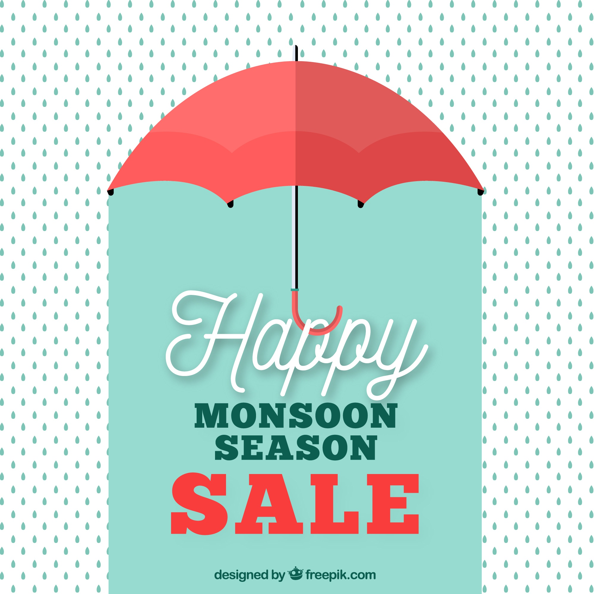 Retro monsoon sale background with umbrella and drops