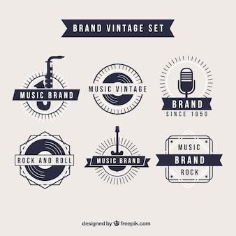 Retro music brand logos