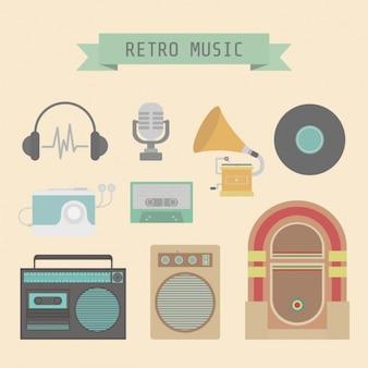Retro music elements design