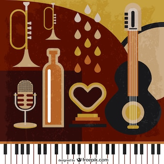 Retro music instruments background