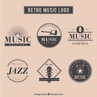 Retro music logo set