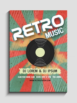 Retro Music Party celebration vintage flyer, banner or template design.