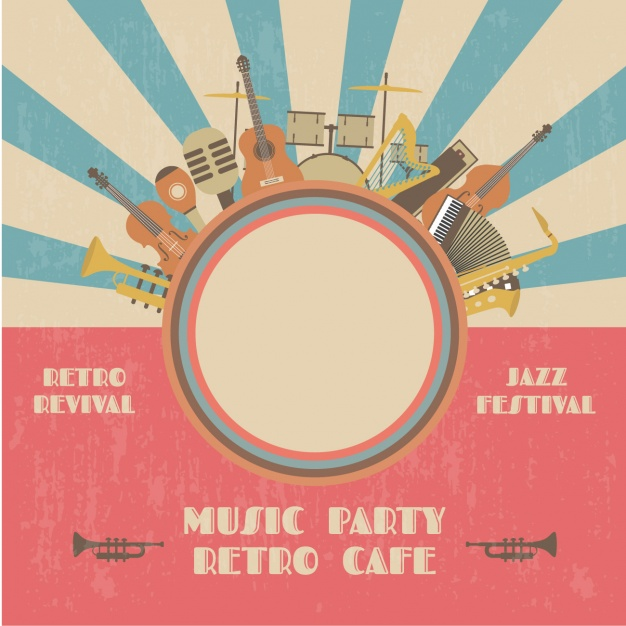 Retro music party poster