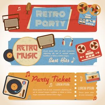 レトロな音楽パーティーのチケットバナー、アナログガジェットと孤立したベクトル図