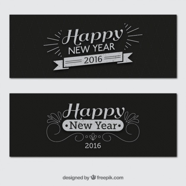Retro new year banners