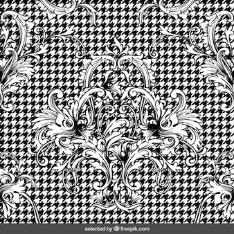 Retro ornaments on houndstooth background