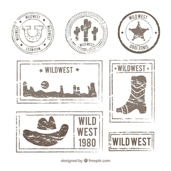 Retro pack of wild west post stamps