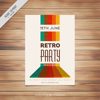 Retro party leaflet with colored forms